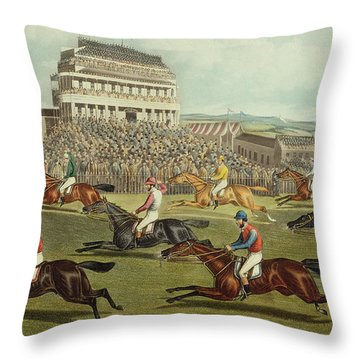 The Liverpool Grand National Steeplechase Coming In Throw Pillow