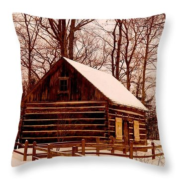 The Log Cabin At Old Mission Point Throw Pillow