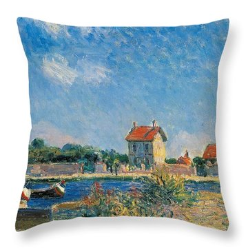The Loing Canal At Saint-mammes Throw Pillow by Alfred Sisley