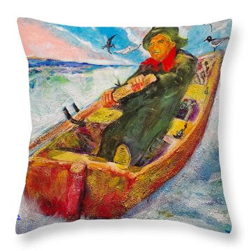 The Lone Boatman Throw Pillow