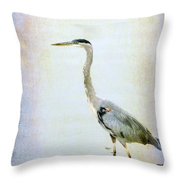 Throw Pillow featuring the digital art The Lone Crane by Davina Washington