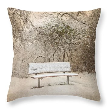 The Lonely Bench Throw Pillow by Betty LaRue
