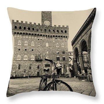 The Lonely Bicycle Throw Pillow by Nicola Fiscarelli