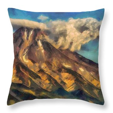 Throw Pillow featuring the painting The Lonely Mountain by Mario Carini