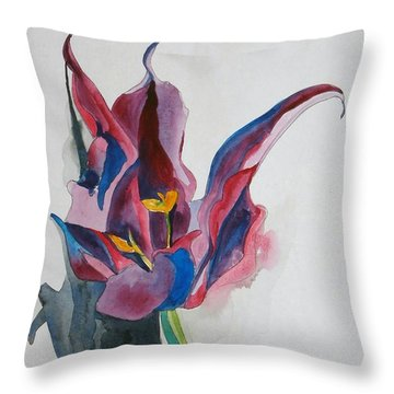 The Lonely Tulip Throw Pillow by Esther Newman-Cohen