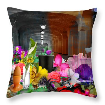 Throw Pillow featuring the digital art The Long Collage by Cathy Anderson