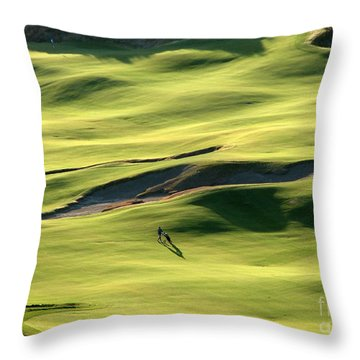Throw Pillow featuring the photograph The Long Green Walk - Chambers Bay Golf Course by Chris Anderson