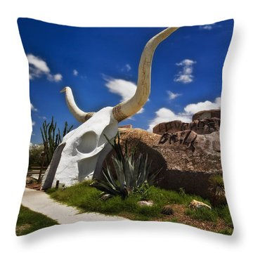 The Long Horn Grill Throw Pillow