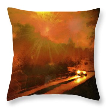 Throw Pillow featuring the photograph The Long Road Home  by Fine Art By Andrew David