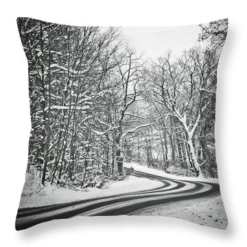 The Long Road Of Winter Throw Pillow by Sara Frank