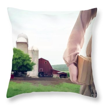 The Long Walk To School Throw Pillow by Edward Fielding