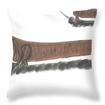 Throw Pillow featuring the painting The Longest Dog In The World by Jeffrey Koss