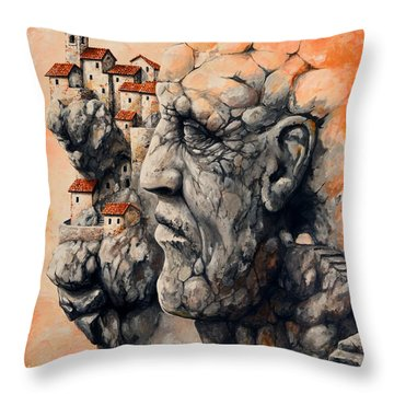 The Lost City - The Sentinel Throw Pillow by Emerico Imre Toth