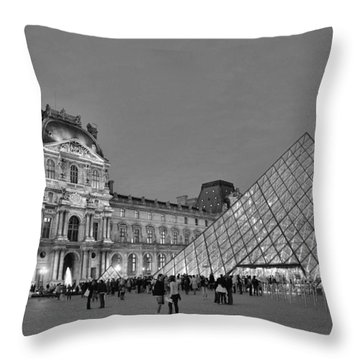 The Louvre Black And White Throw Pillow