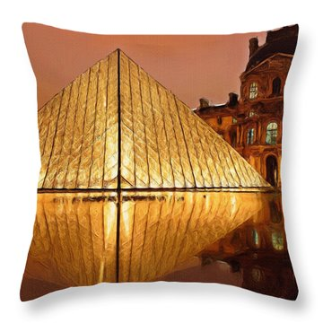 The Louvre By Night Throw Pillow by Ayse Deniz