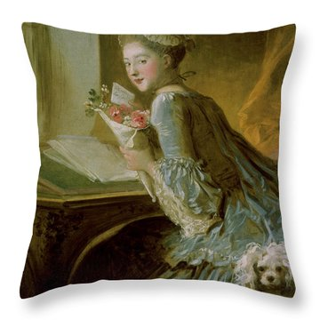 The Love Letter Throw Pillow by Jean Honore Fragonard