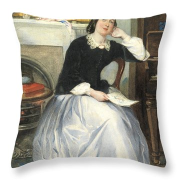 The Love Token Throw Pillow by Frederick Walker