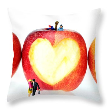 The Lovers In Valentine's Day Little People On Food Throw Pillow by Paul Ge