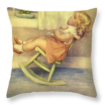 The Lullaby Throw Pillow by Bessie Pease Gutmann