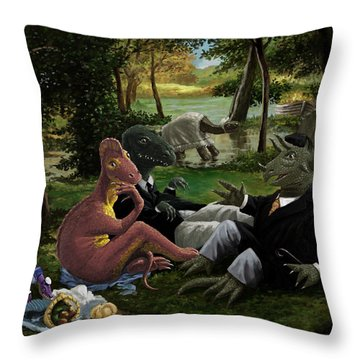 The Luncheon On The Grass With Dinosaurs Throw Pillow