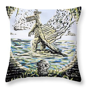 Throw Pillow featuring the painting The Machine by Ryan Demaree