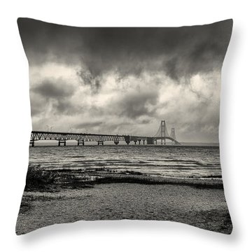 The Mackinac Bridge B W Throw Pillow