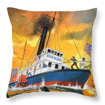 The 'madmen' Of The Mississippi Throw Pillow by English School