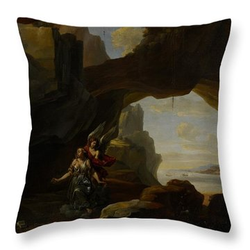 The Magdalen In A Cave Throw Pillow by Johannes Lingelbach