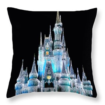 The Magic Kingdom Castle In Frosty Light Blue Walt Disney World Throw Pillow by Thomas Woolworth