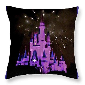 The Magic Kingdom Castle In Violet Walt Disney World Fl Throw Pillow by Thomas Woolworth