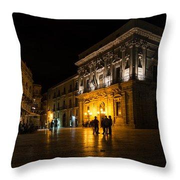 Throw Pillow featuring the photograph The Magical Duomo Square In Ortygia Syracuse Sicily by Georgia Mizuleva