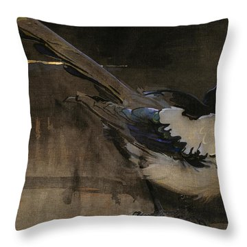 The Magpie Throw Pillow by Joseph Crawhall