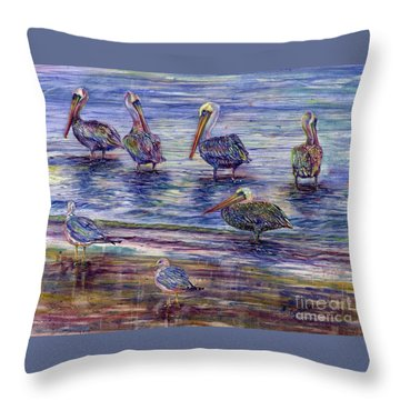 The Majestic Pelican Visit Throw Pillow