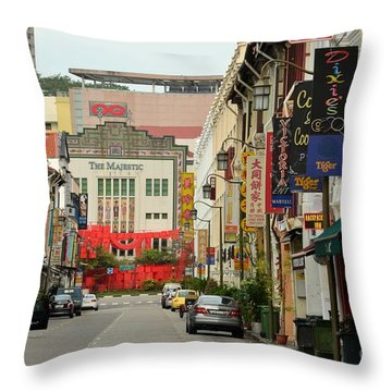 Throw Pillow featuring the photograph The Majestic Theater Chinatown Singapore by Imran Ahmed
