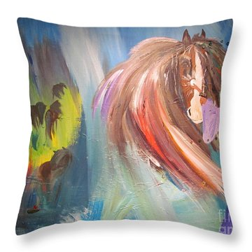 The Majik Of Horses Throw Pillow