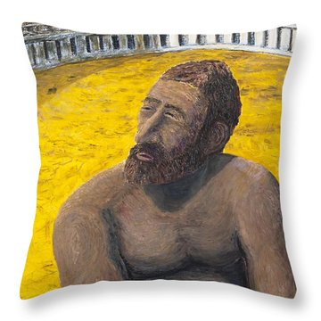 The Man In The Arena Throw Pillow by Richard Wandell