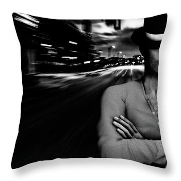 The Man In The Hat Returns Throw Pillow by Bob Orsillo