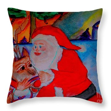 Throw Pillow featuring the painting The Man In The Red Suit And A Red Nosed Reindeer by Helena Bebirian
