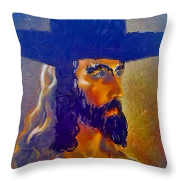 Throw Pillow featuring the painting The Man by Lisa Piper
