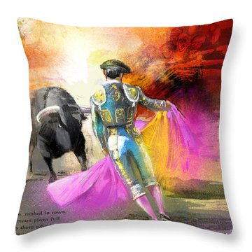 The Man Who Fights The Bull Throw Pillow