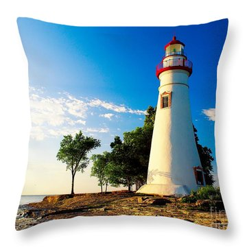 The Marblehead Light Throw Pillow by Nick Zelinsky