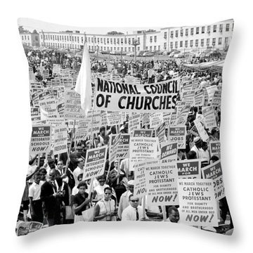 The March For Civil Rights Throw Pillow by Benjamin Yeager