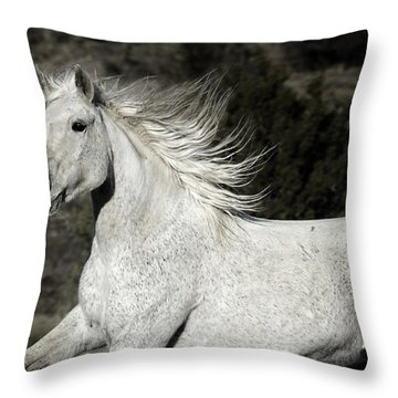 The Mare With The Flying Mane Throw Pillow by Karen Slagle