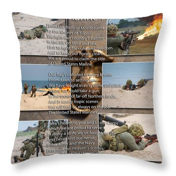 The Marine Corp Hymn Throw Pillow by Thomas Woolworth