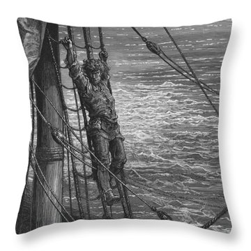 The Mariner Describes To His Listener The Wedding Guest His Feelings Of Loneliness And Desolation  Throw Pillow by Gustave Dore