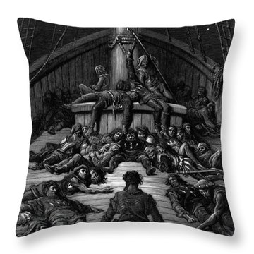 The Mariner Gazes On His Dead Companions And Laments The Curse Of His Survival While All His Fellow  Throw Pillow by Gustave Dore