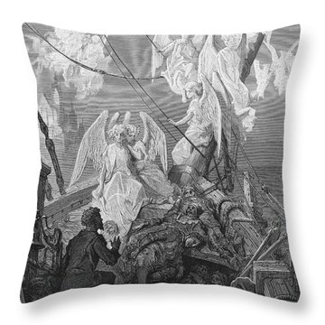 The Mariner Sees The Band Of Angelic Spirits Throw Pillow by Gustave Dore
