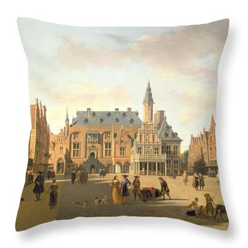 The Market Place With The Raadhuis, Haarlem, 17th Century Throw Pillow