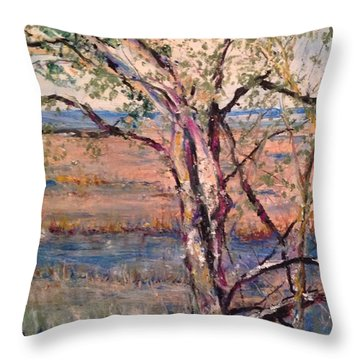 The Marsh And The Live Oak Throw Pillow