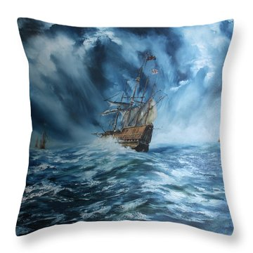 The Mary Rose And Fleet Throw Pillow